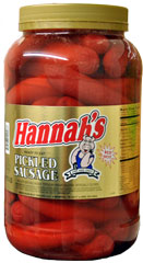 HANNAHS PICKLED SAUSAGE 4LB - 26CT  JAR