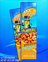 Planters Honey Roasted Cashews 18 1.5oz Tubes